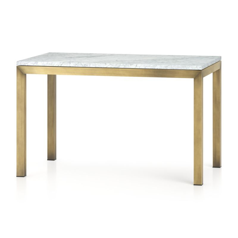 Parsons Walnut Top & Dark Steel Base 48X16 Console Tables Inside Widely Used Parsons White Marble Top/ Brass Base 48X28 Dining Table In  (View 12 of 20)