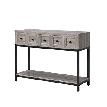 Parsons Walnut Top & Dark Steel Base 48x16 Console Tables Intended For Best And Newest Amazon: Altra Furniture Console Table In Sonoma Oak Finish (View 19 of 20)