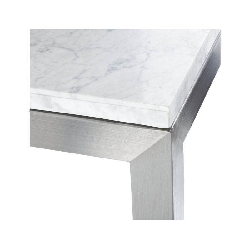 Parsons Walnut Top & Dark Steel Base 48x16 Console Tables Pertaining To Best And Newest Parsons White Marble Top/ Stainless Steel Base 60x36 Large (View 10 of 20)