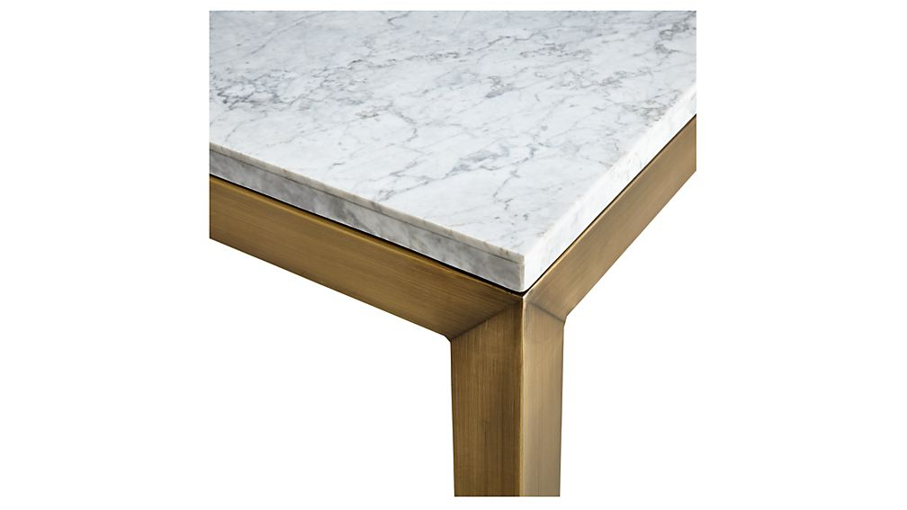 Parsons White Marble Top/ Brass Base 60X36 Large Rectangular Coffee Pertaining To Most Popular Parsons White Marble Top & Elm Base 48X16 Console Tables (View 17 of 20)