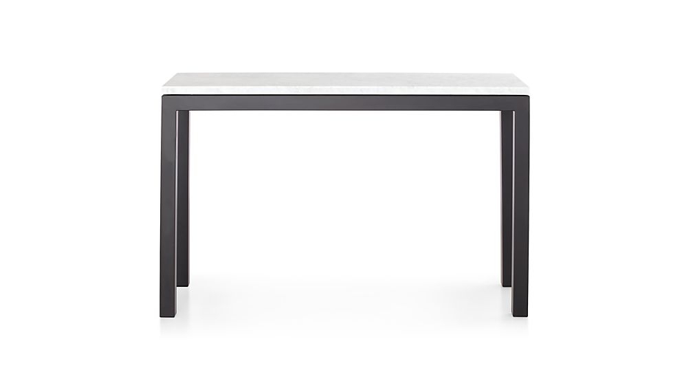 Parsons White Marble Top/ Dark Steel Base 48x16 Console (View 6 of 20)