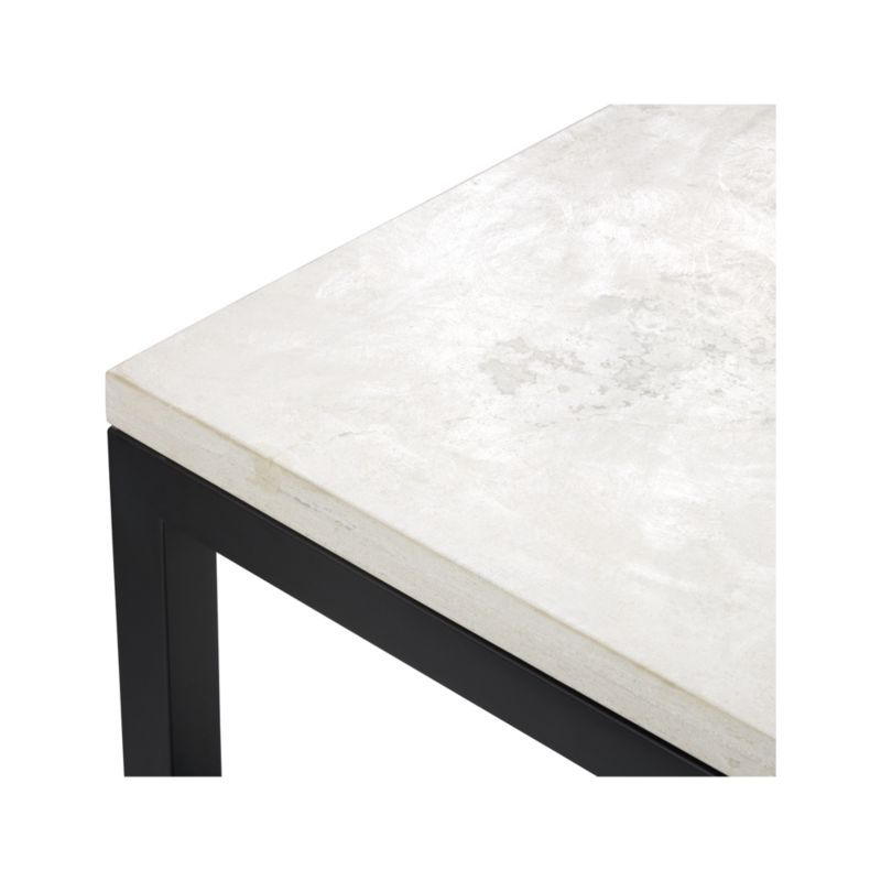 Parsons White Marble Top & Dark Steel Base 48X16 Console Tables Within Most Current Parsons Travertine Top/ Dark Steel Base 48X16 Console (View 13 of 20)