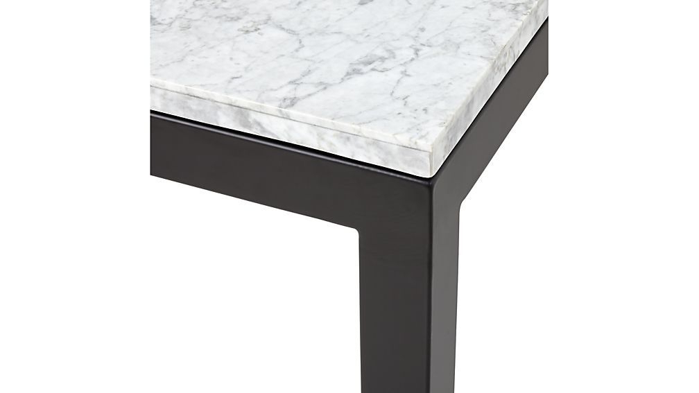 Parsons White Marble Top/ Dark Steel Base 48X16 Console (View 18 of 20)