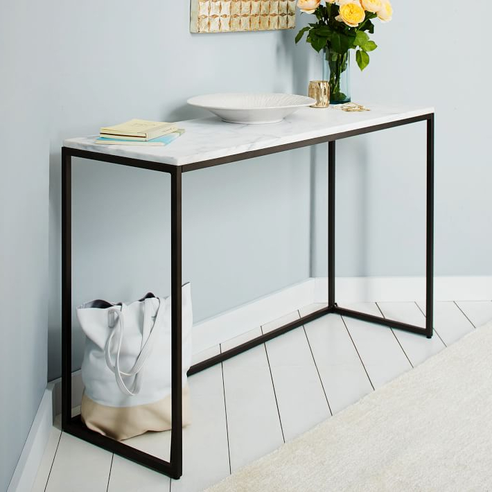 Parsons White Marble Top & Elm Base 48X16 Console Tables Inside Latest Marble Top Console Table – Betinfon (View 12 of 20)