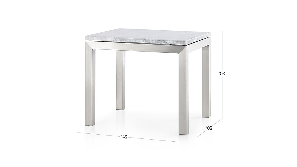 Parsons White Marble Top/ Stainless Steel Base 20x24 End Table + Inside Well Known Parsons Travertine Top & Elm Base 48x16 Console Tables (View 15 of 20)