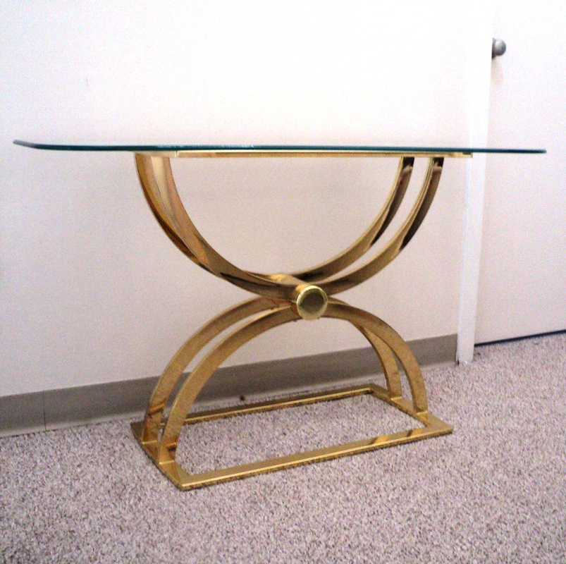 Phillip Brass Console Tables With Famous Ultra Glam Brass & Glass Console Table – Julesmoderne (View 13 of 20)