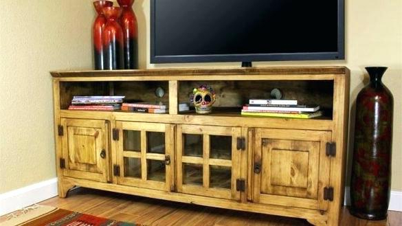Pine Tv Cabinets For Well Known Pine Tv Cabinet Vintage Grey 4 Drawer Storage Entertainment Console (View 9 of 20)