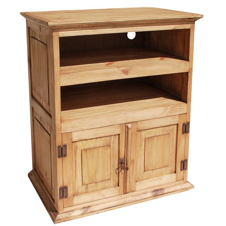 Pine Tv Cabinets Inside Well Liked Tall Tv Cabinet Inside Rustic Pine Collection Tv Stand Com220 Design (View 4 of 20)