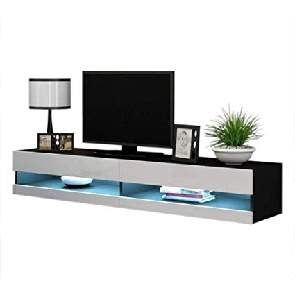 Popular Amazon: Concept Muebles 80 Inch Seattle High Gloss Led Tv Stand In White And Black Tv Stands (View 7 of 20)