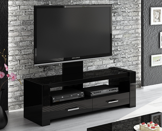 Popular Black Gloss Tv Stands Pertaining To Monaco Black Tv Stand (View 16 of 20)