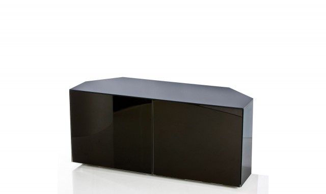 """Popular Black High Gloss Corner Tv Unit Within Marvel – 55"""" Corner Tv Unit In Black High Gloss – Fishpools (View 15 of 20)"""
