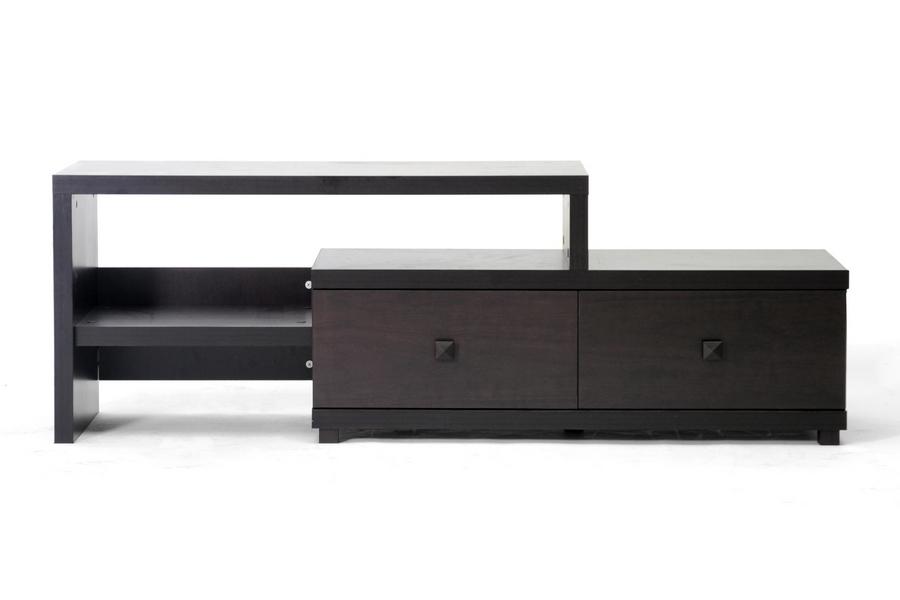 Popular Blythe Modern Asymmetrical Tv Stand Dark Brown Inside Modern Wooden Tv Stands (View 17 of 20)