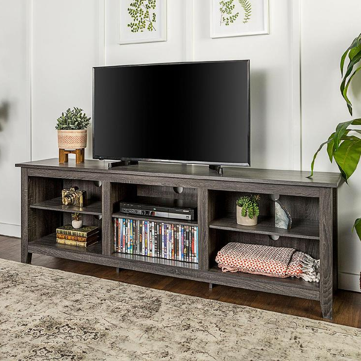Popular Charcoal Gray Wood Open Storage Tv Stand Intended For Grey Wood Tv Stands (View 18 of 20)