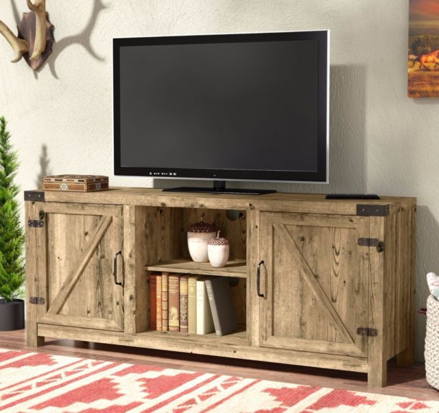 Popular Entertainment Center Tv Stands Within Industrial Tv Stand Barnwood Rustic Entertainment Center Storage (View 15 of 20)
