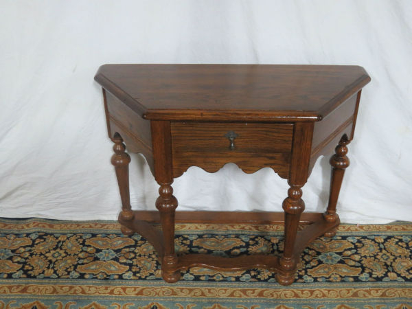 Popular Ethan Console Tables Intended For Ethan Allen Oak Feudal Console Table – Casey And Gram (View 11 of 20)