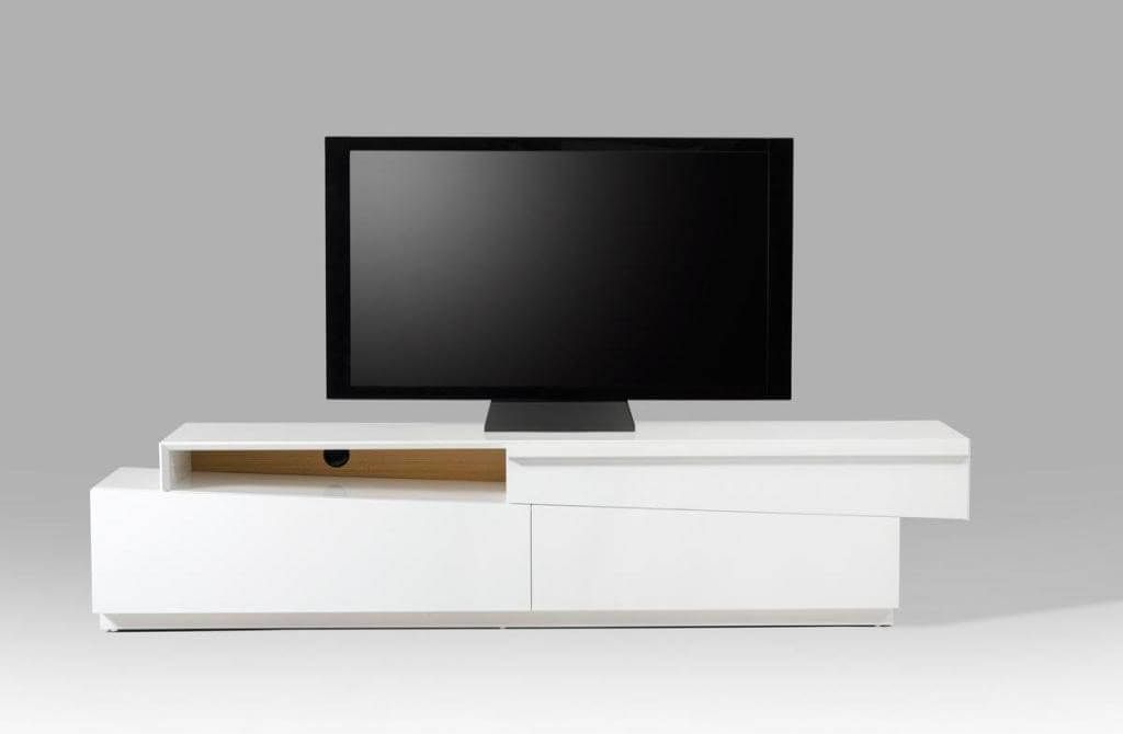 Popular Furniture: Contemporary Slope Sliced Style White Tv Stand Featuring Pertaining To Contemporary White Tv Stands (View 16 of 20)