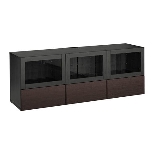 Popular Glass Tv Cabinets With Doors Throughout Bestå Tv Unit With Doors And Drawers – Black Brown Sindvik/inviken (View 12 of 20)