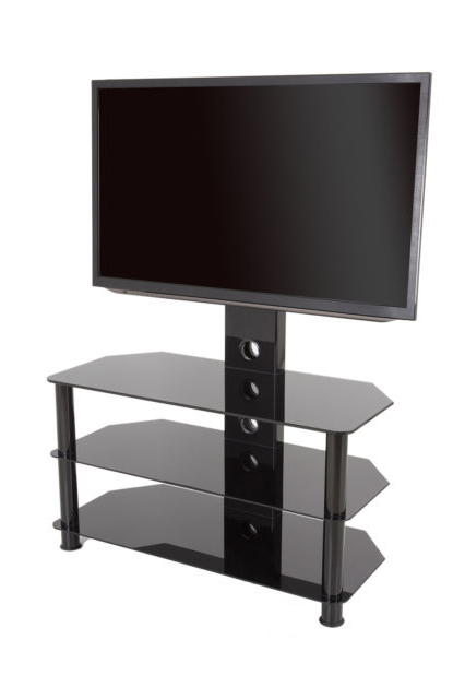 Popular King Upright Cantilever Tv Stand With Bracket Black Glass Shelves Throughout Upright Tv Stands (View 11 of 20)