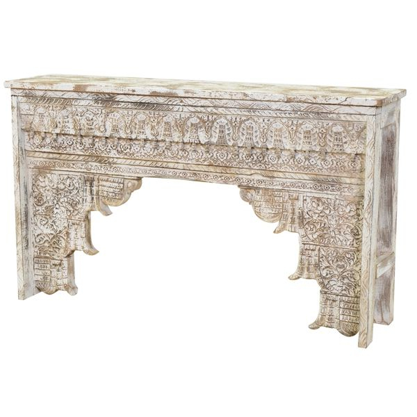 Popular Kosas Home Ariel Antique White Mango Wood Console Table (View 14 of 20)