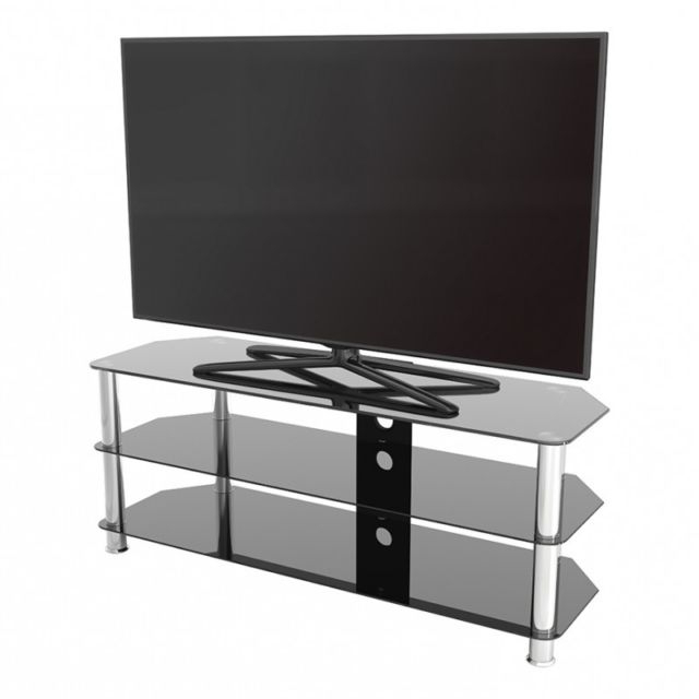 "Popular Modern Tv Stands For 60 Inch Tvs Throughout King Universal Black Glass Tv Stand 125Cm Suitable Up To 60"" Inch (View 12 of 20)"