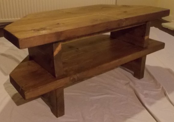 Popular Rustic Corner Tv Cabinets Throughout Hand Made Rustic Corner Tv Stand  (View 6 of 20)