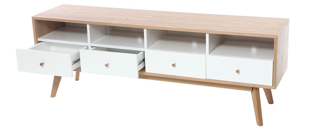 Popular Scandinavian White Wood Tv Stand Helia – Miliboo Regarding White And Wood Tv Stands (View 8 of 20)