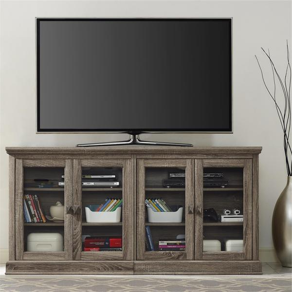 Popular Shop Avenue Greene Adelle Tv Stand With Glass Doors For Tvs Up To 70 With Regard To Oak Tv Stands With Glass Doors (View 5 of 20)