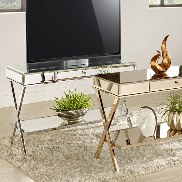 Popular Shop Silver Orchid Olivia X Base Mirrored Tv Stand With Drawer – On Inside Mirrored Tv Stands (View 14 of 20)