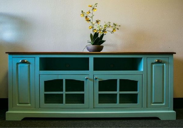 Popular Sinclair Blue 64 Inch Tv Stands With Sea Breeze Collection – Solid Wood Turquoise Tv Console (View 15 of 20)