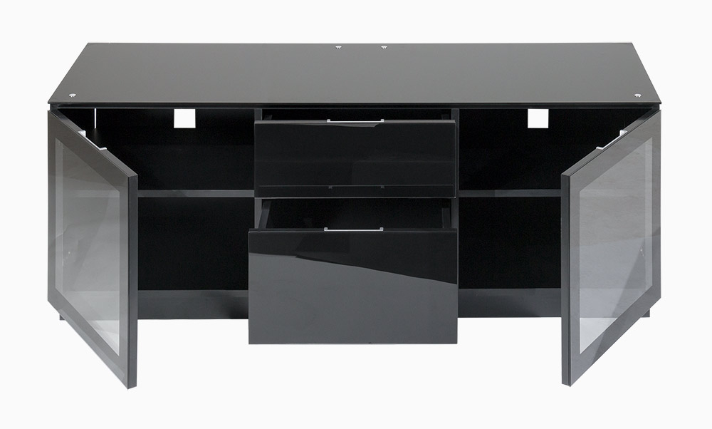 "Popular Tv Cabinet With Doors And Drawers For Up To 65"" Screens Inside Glass Fronted Tv Cabinet (View 2 of 20)"