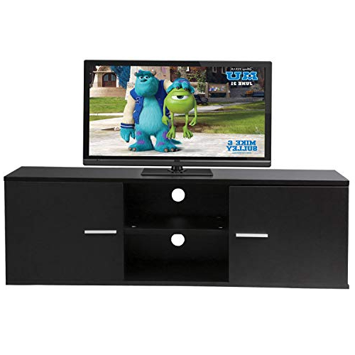"""Popular Tv Cabinets With Storage In Amazon: Black 55"""" Wood Tv Stand Media Storage Console Table (View 9 of 20)"""