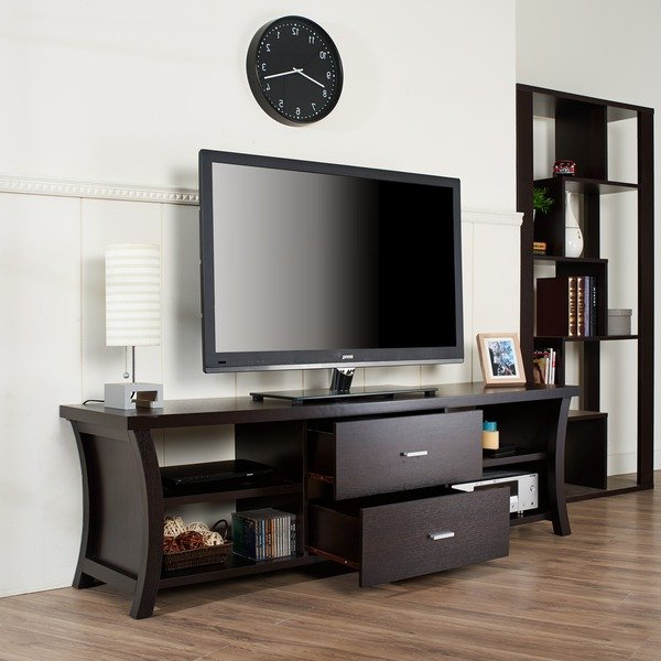 Popular Tv Stands With Drawers And Shelves Regarding Shop Copper Grove Cataraqui Modern 2 Drawer Tv Stand With Open (View 10 of 20)