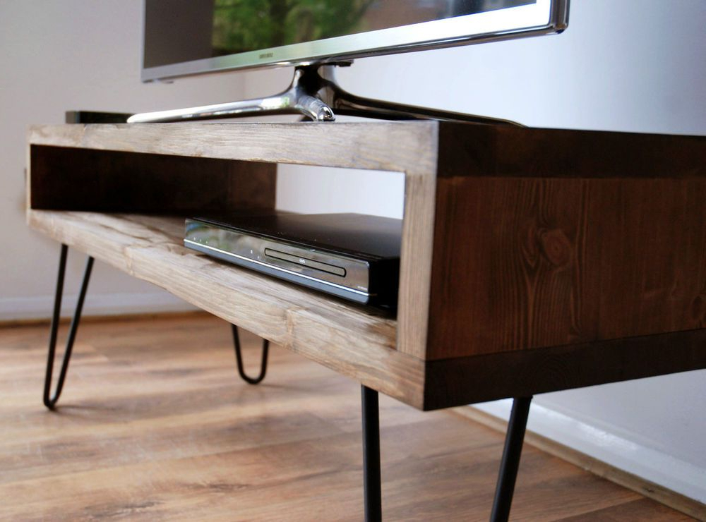 Popular Vintage Retro Box Tv Stand W/ Metal Hairpin Legs Solid Wood, Rustic Throughout Rustic Furniture Tv Stands (View 19 of 20)