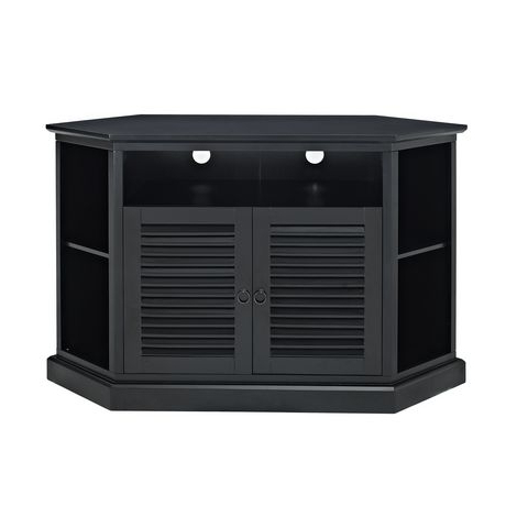 Popular We Furniture Black Wood Corner Tv Stand With Louvered Doors Throughout Black Wood Corner Tv Stands (View 16 of 20)
