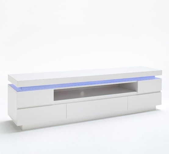 Popular White High Gloss Tv Stands Within Odessa 5 Drawer Lowboard Tv Stand In High Gloss White With Led (View 16 of 20)