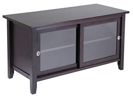 Popular Wood Tv Stand With Glass In Amazon: Winsome Wood Tv Stand With Glass Sliding Doors, Espresso (View 8 of 20)