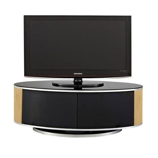 Powell Tv Stand In Black Glass Top With Oak And Black Gloss (View 8 of 20)