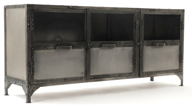 Preferred 3 Door Metal Lcd Tv Stand – Industrial – Entertainment Centers And For Industrial Metal Tv Stands (View 3 of 20)