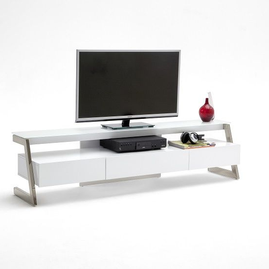 Preferred Albans Glass Lcd Tv Stand In White With High Gloss And 3 Drawers With White Glass Tv Stands (View 5 of 20)
