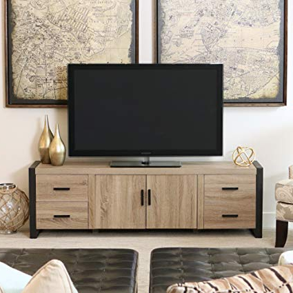 Preferred Amazon: New 70 Inch Modern Industrial Tv Stand  Ash Grey Within Industrial Tv Stands (View 18 of 20)