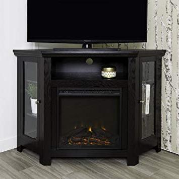 "Preferred Amazon: We Furniture 48"" Corner Tv Stand Fireplace Console Regarding Black Corner Tv Cabinets (View 7 of 20)"