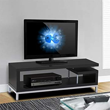 Preferred Amazon: Yaheetech Black Wood Tv Stand Console Table Home Within Natural 2 Door Plasma Console Tables (View 15 of 20)