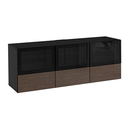 Preferred Bestå Tv Unit With Doors And Drawers – Black Brown/selsviken High Within Black Tv Cabinets With Doors (View 18 of 20)