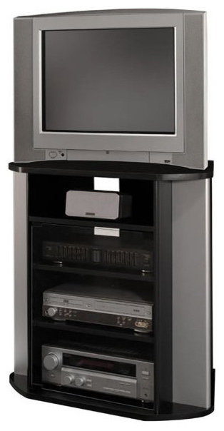 Preferred Bush Visions Corner Tv Stand In Black With Metal Silver Finish For Silver Corner Tv Stands (View 12 of 20)