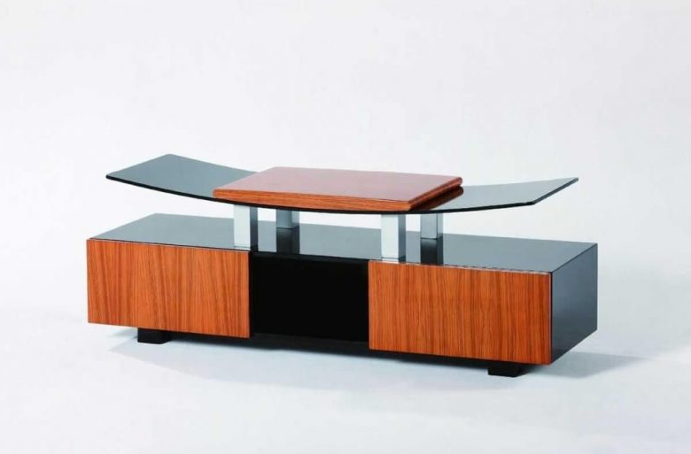 Preferred Contemporary Glass Tv Stands Throughout Furniture: Curvy Wood And Tempered Glass Modern Tv Stands With (View 20 of 20)
