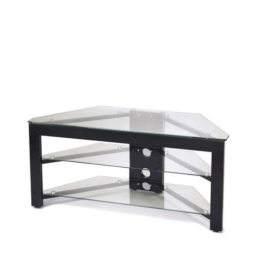 Preferred Corner Tv Tables Stands In Convenience Concepts Black Wood Grain And Glass Corner Tv Stand Tv (View 16 of 20)