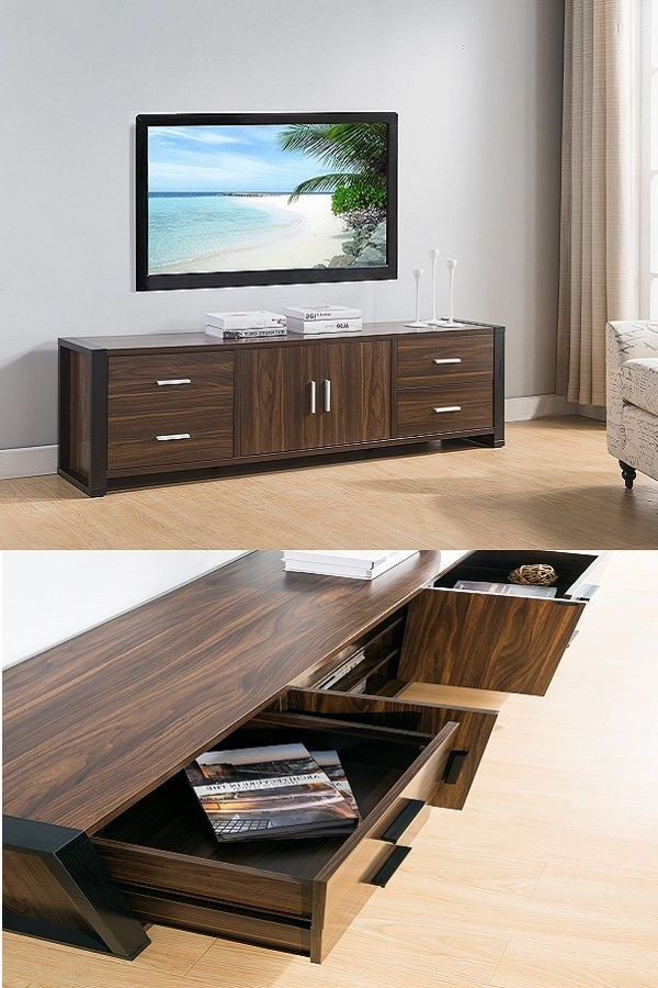 Preferred Dark Walnut Tv Stands Intended For 161483 Smart Home Dark Walnut & Black Edition Tv Stands (60 Inch (View 14 of 20)