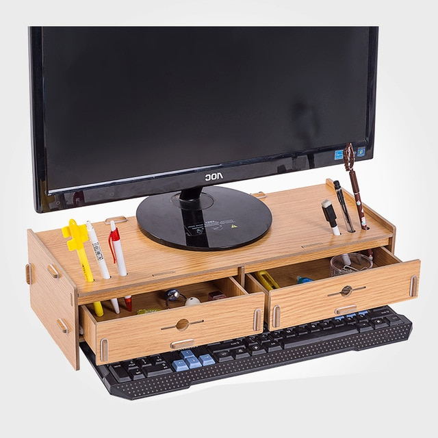 Preferred Desktop Monitor Stand,wooden Monitor Riser Tv Stand,double Drawer Inside Double Tv Stands (View 12 of 20)