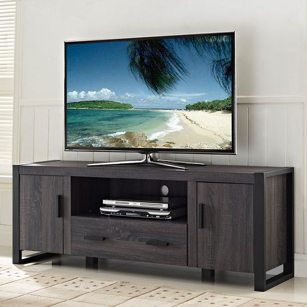 Preferred Grey Tv Stands For $350. 60 Inch Charcoal Grey Tv Stand – Overstock™  (View 12 of 20)