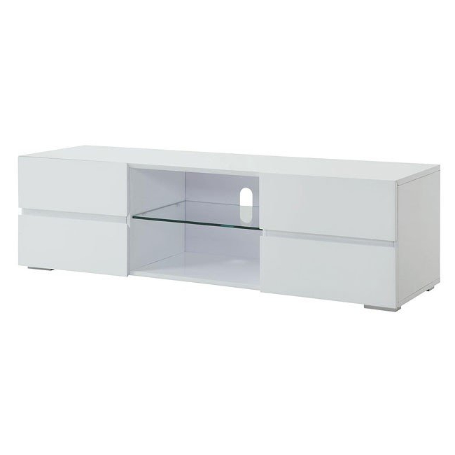 Preferred High Gloss White Tv Stands Throughout High Gloss White Tv Stand W/ Storage Drawerscoaster Furniture, (View 15 of 20)